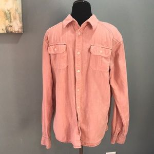 Men's Black Jack red chambray button down shirt